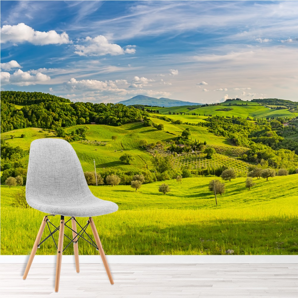 Tuscan countryside wall mural green landscape wallpaper for Countryside wallpaper for walls