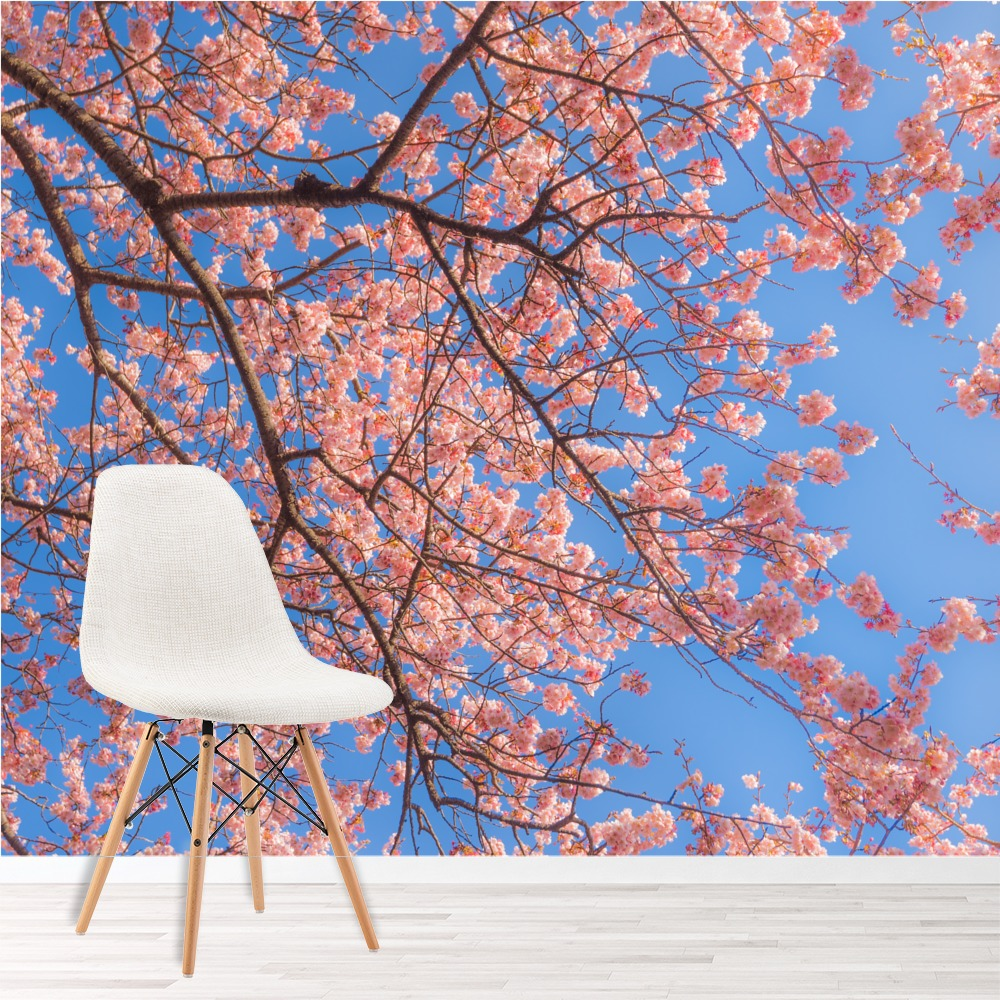 Pink Cherry Blossom Wall Mural Blue Sky Wallpaper Bedroom Photo Home Decor