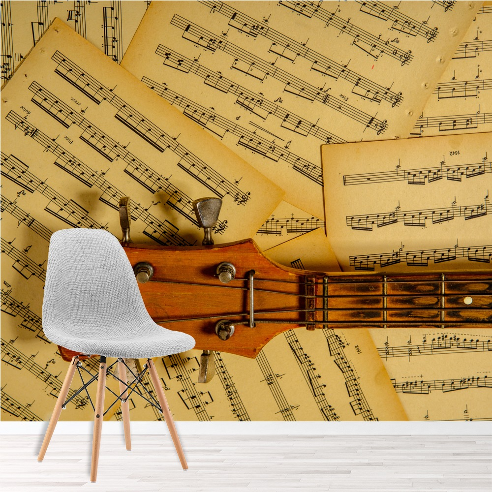 Music Wall Mural Guitar Music Note Wallpaper Bedroom Photo Home Decor