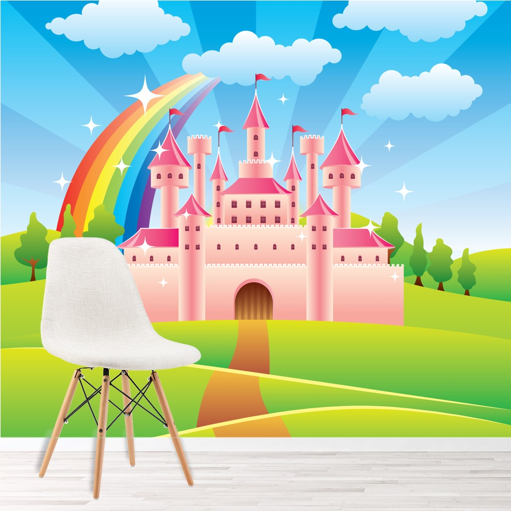 Pink princess castle wall mural fairytale rainbow for Castle wall mural wallpaper