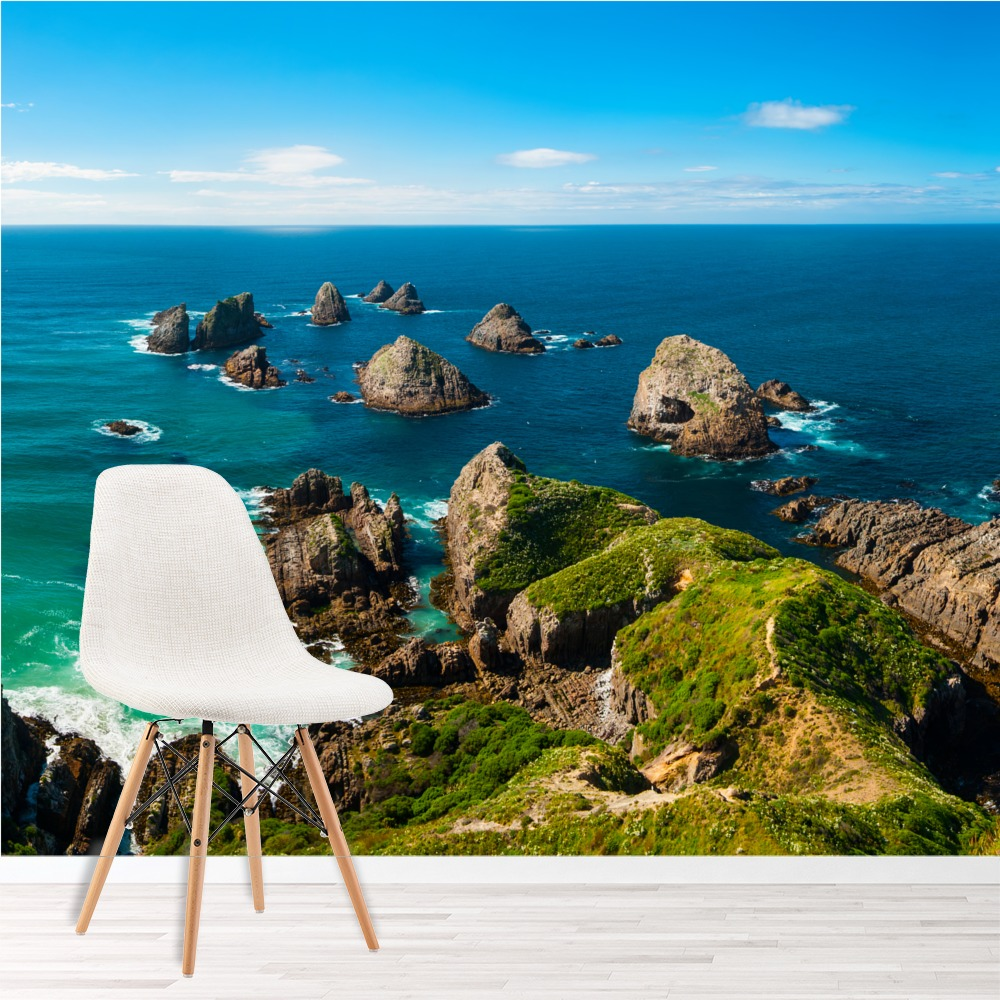 Ocean Blue Bedroom Wall: Blue Ocean Wall Mural New Zealand Landscape Wallpaper