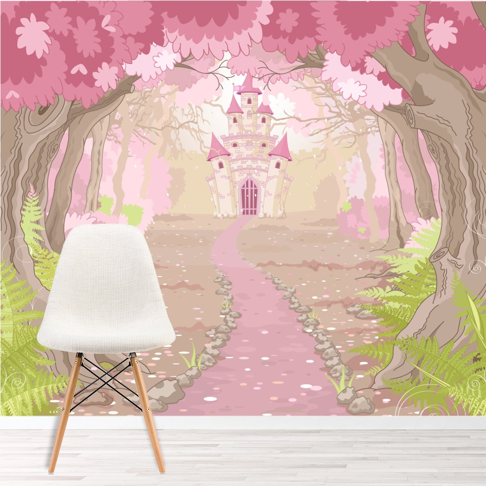 Pink princess castle wall mural fairytale wallpaper girls bedroom ws 42412wp 01g voltagebd Image collections
