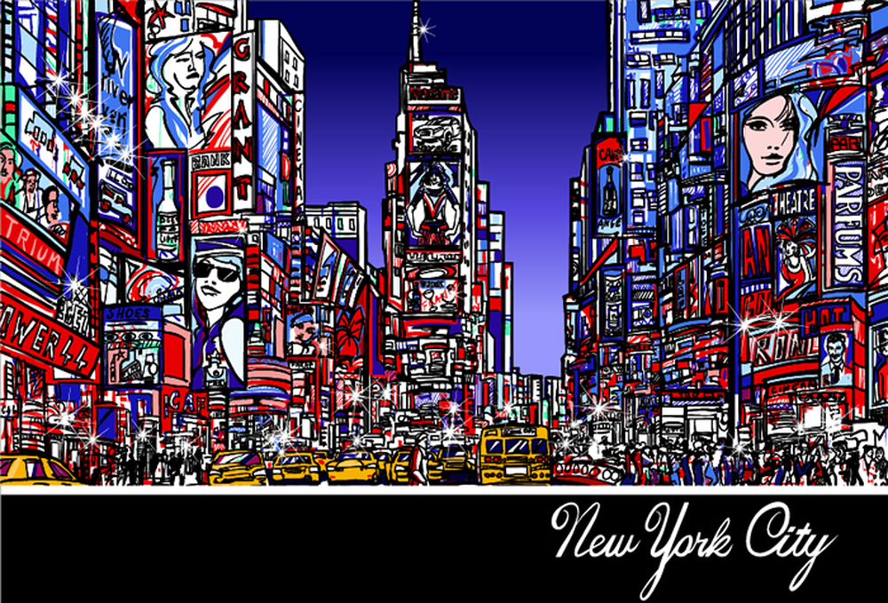 times square art wall mural new york city skyline wallpaper bedroom photo decor. Black Bedroom Furniture Sets. Home Design Ideas