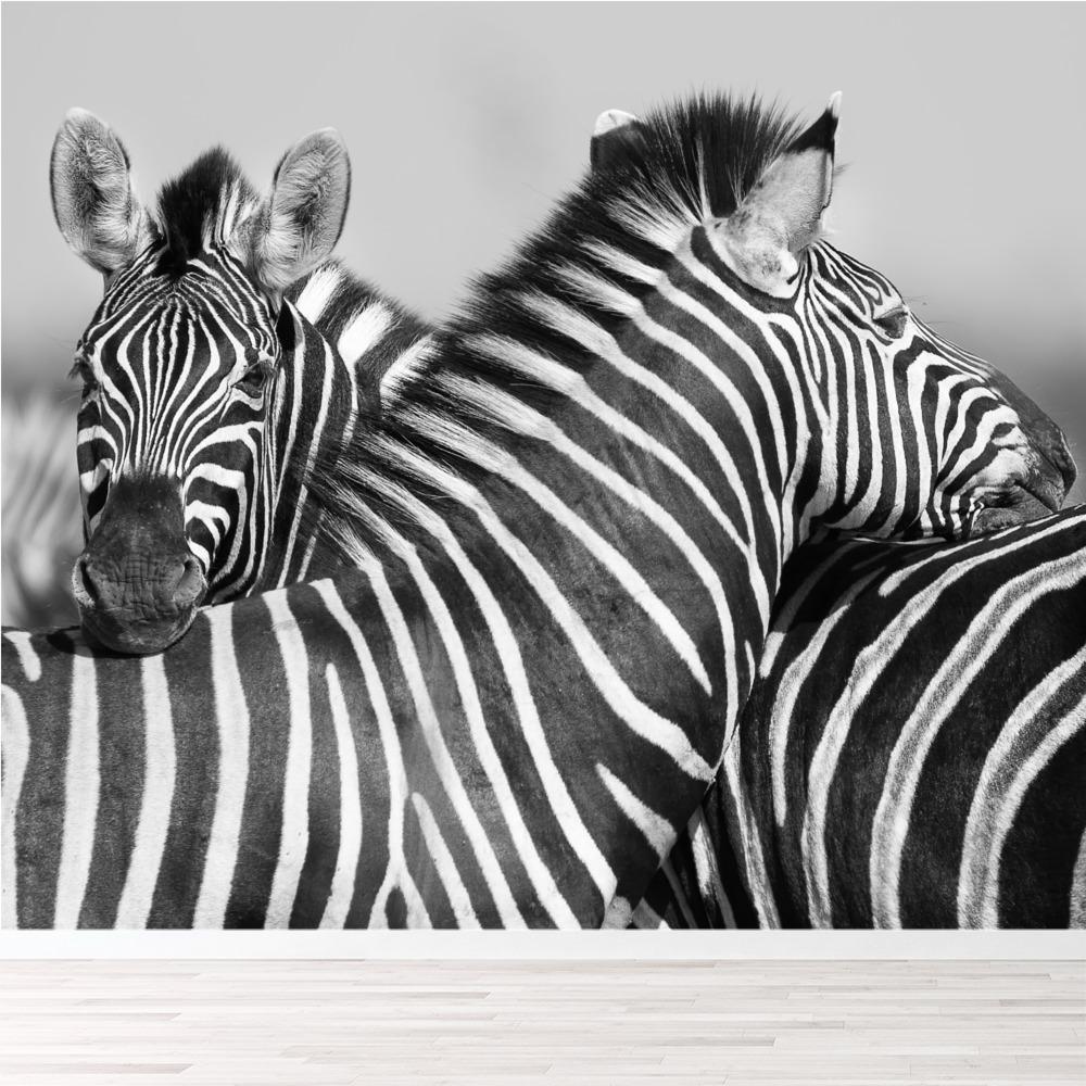 Schwarz Weißes Wandgemälde Zebra Tier Tapete Schlafzimmer Foto