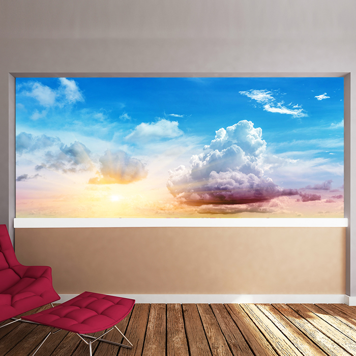 Sun clouds wall mural blue sky wallpaper living room for Clouds wall mural