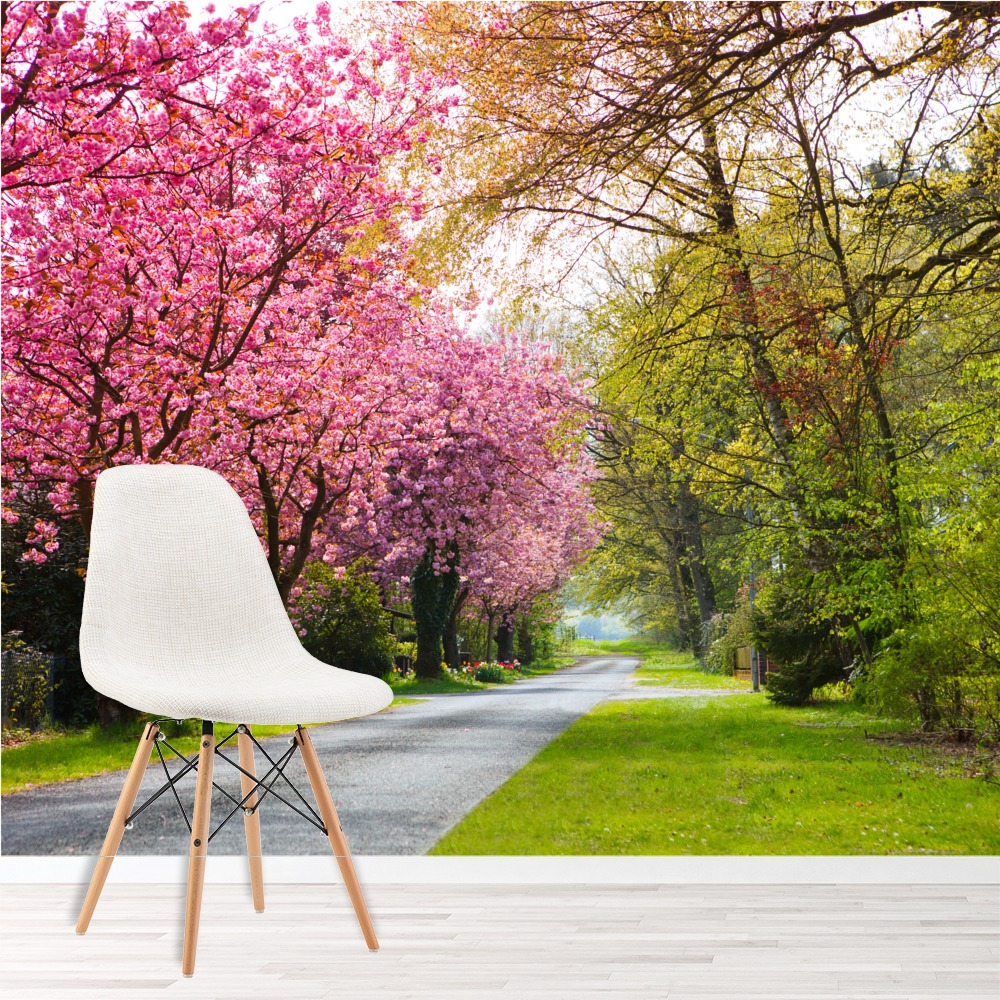 Pink Cherry Blossom Trees Wall Mural Forest Path Wallpaper Living Photo Decor