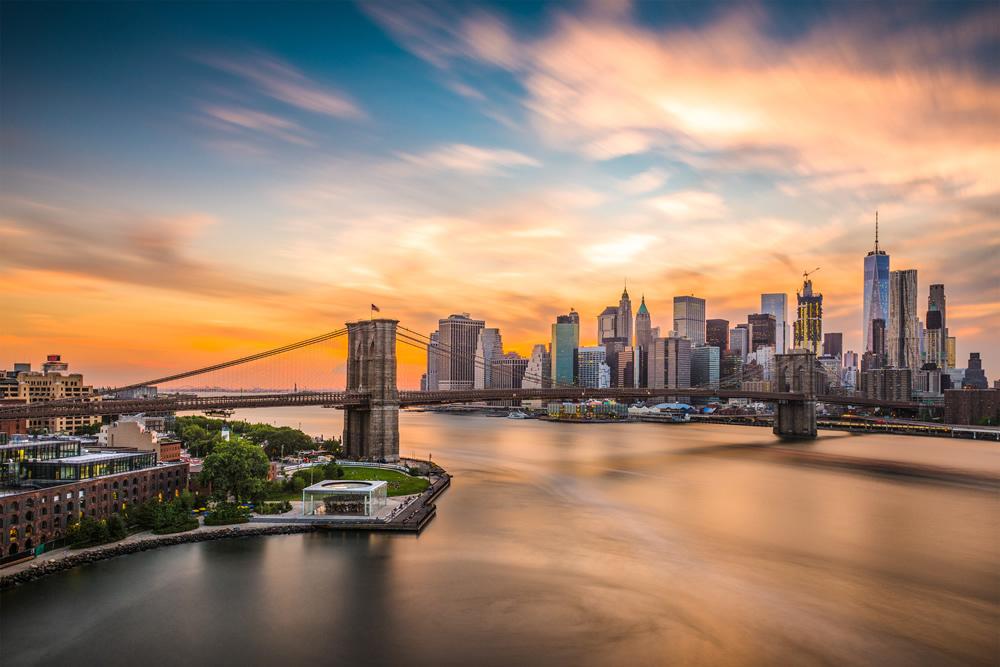 New York City Brooklyn Bridge Skyline Wallpaper Wall Mural