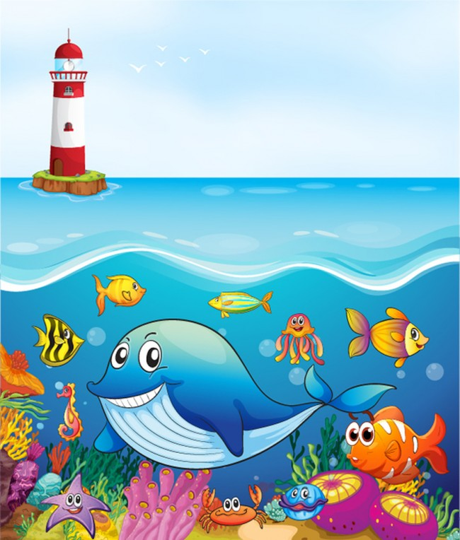 Whale Friends Under The Sea Wallpaper Wall Mural