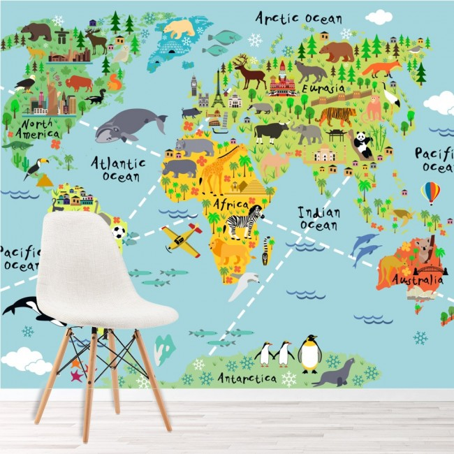 World map wall mural childrens wallpaper kids bedroom photo home decor animal world map wall mural childrens wallpaper kids bedroom photo home decor gumiabroncs Gallery