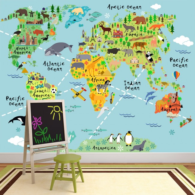 Animal world map wall mural childrens wallpaper kids bedroom photo ws 42154wp 02g gumiabroncs Image collections
