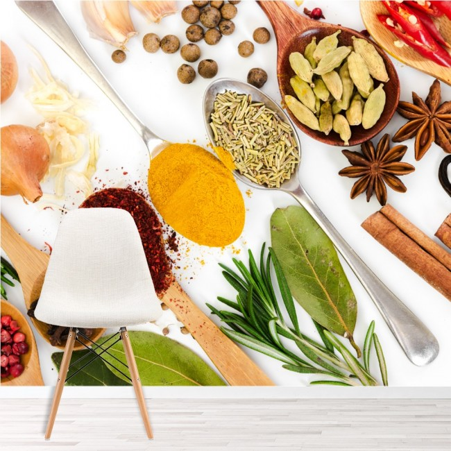 Herbs & Spices Wall Mural Food Wallpaper Kitchen