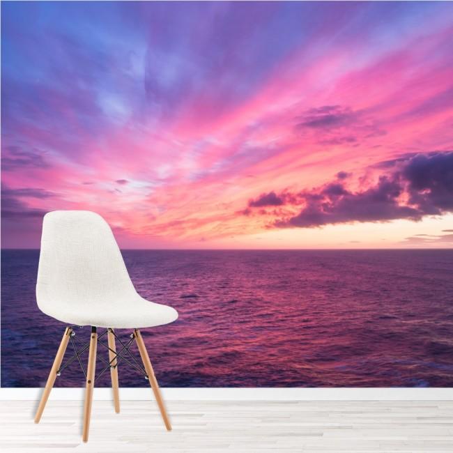 Purple Sky Wall Mural Ocean Sunset Wallpaper Living Room Bedroom ...