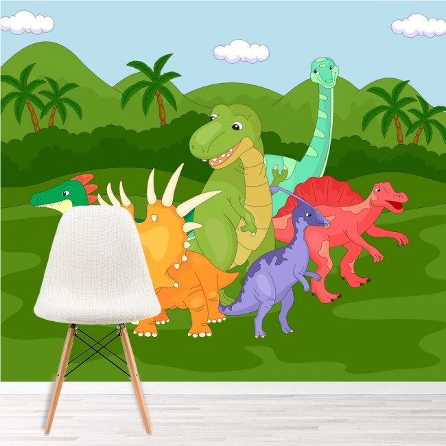 Fun dinosaur group wall mural jurassic wallpaper kids for Fun wallpaper for walls