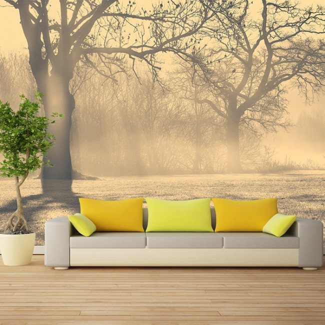 Misty trees wall mural forest landscape wallpaper living for Deer landscape wall mural