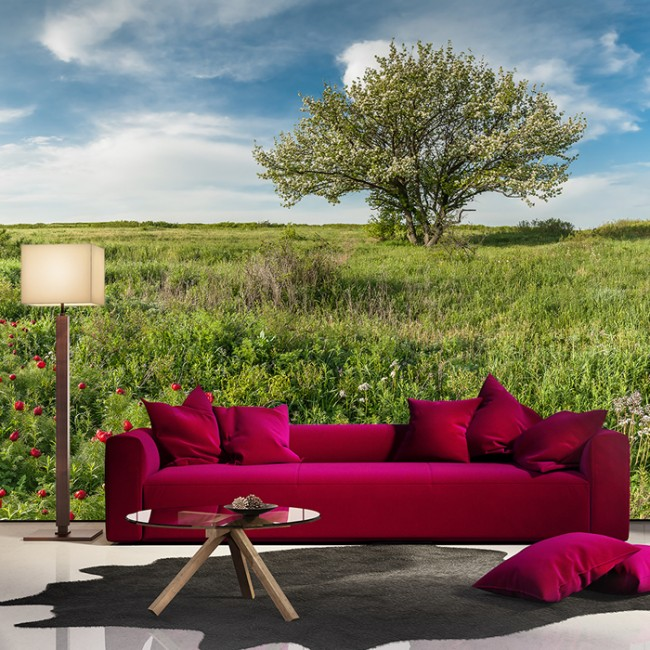 Countryside wall mural green tree nature wallpaper living for Countryside wallpaper for walls