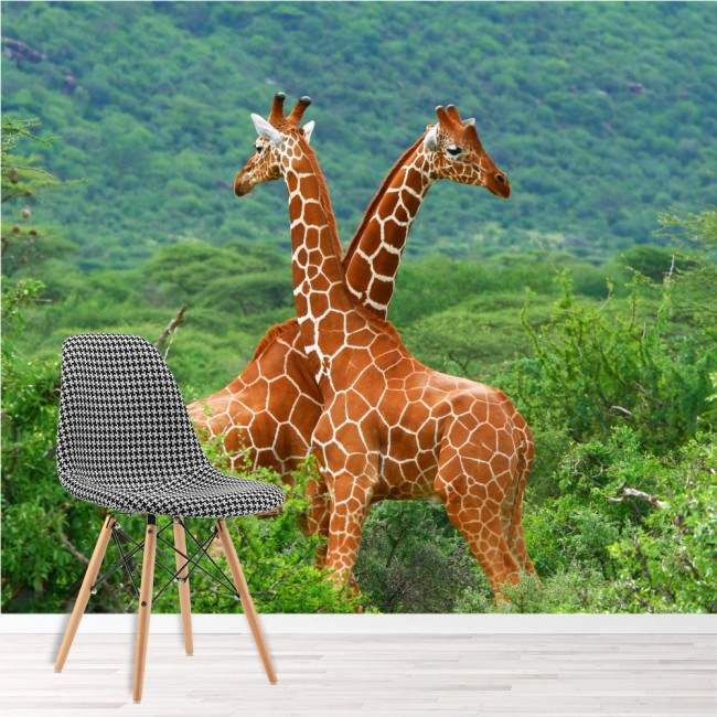 giraffe wall mural safari animals green trees wallpaper