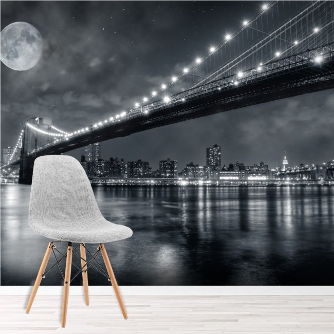 Brooklyn Bridge New York Wall Mural Black & White Wallpaper Bedroom ...