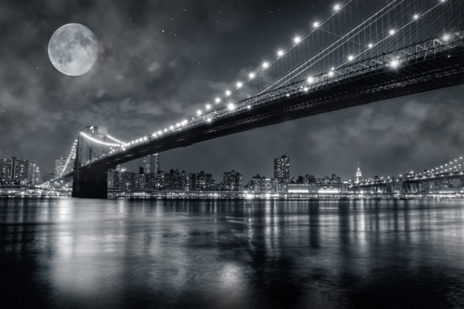 Brooklyn Bridge New York Wall Mural Black White Wallpaper Bedroom