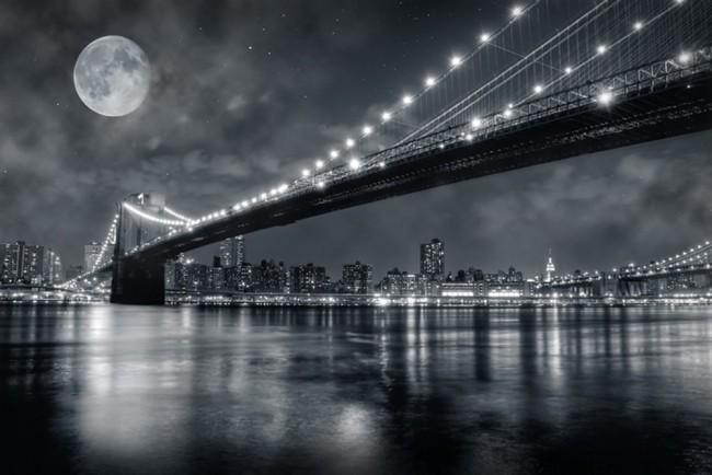 Brooklyn Bridge At Night Wall Mural Wallpaper