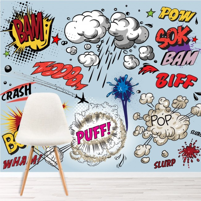 Comic Book Explosions Wall Mural Pop Art Wallpaper Kids Bedroom Photo Home Decor