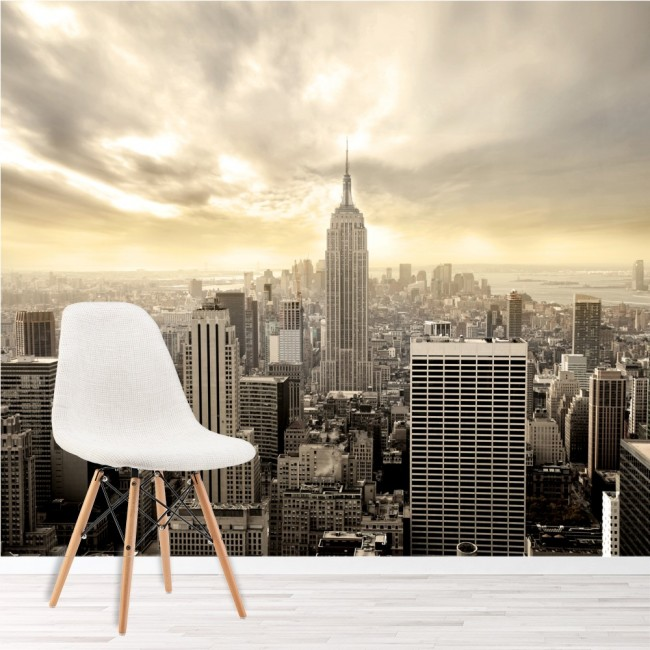 New York Wall Mural City Skyline Wallpaper Living Room Photo Decor