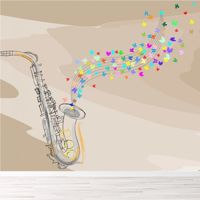 saxophone wall mural music wallpaper bedroom photo home decor