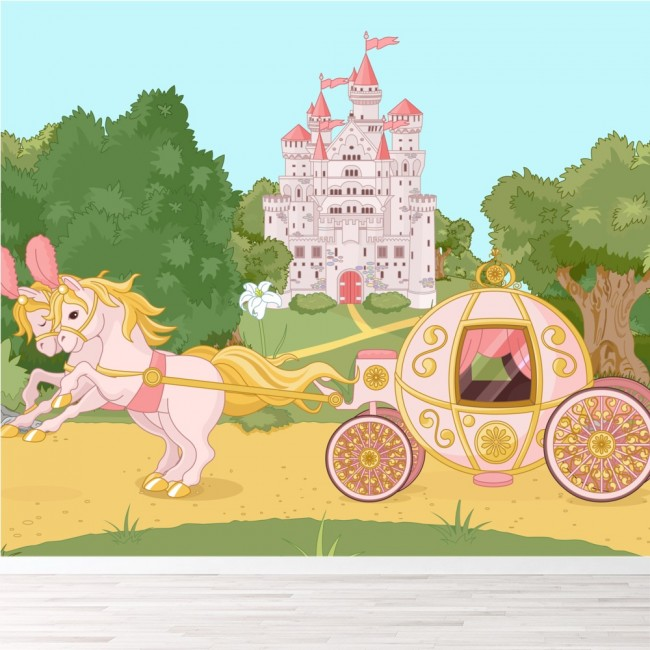 Princess Castle Carriage Wall Mural Fairytale Wallpaper Girls Photo ...
