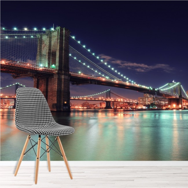 Brooklyn bridge wall mural new york cityscape wallpaper for Cityscape murals photo wall mural