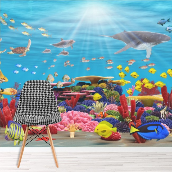 Blue coral reef wall mural under the sea wallpaper for Coral reef bathroom decor