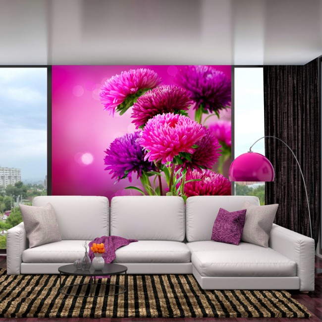 Pink Thistle Flowers Wall Mural Floral Wallpaper Girls Bedroom Photo ...