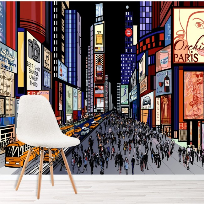 Times Square New York Wall Mural City Illustration Wallpaper Bedroom ...
