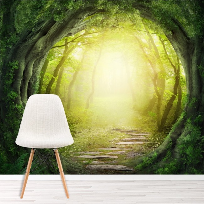 Magic forest wall mural fantasy nature wallpaper kids for Nature wallpaper for bedroom