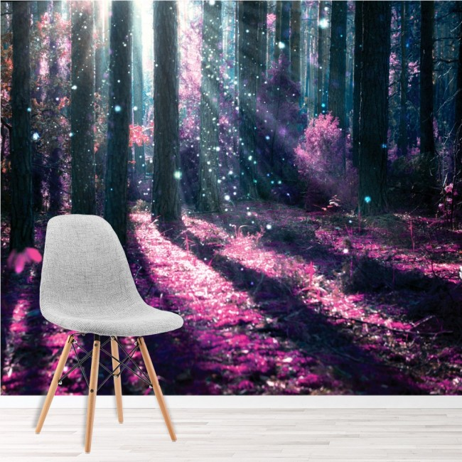 Enchanted Forest Wall Mural Purple Tree Wallpaper Girls Bedroom Photo Home  Decor Part 17