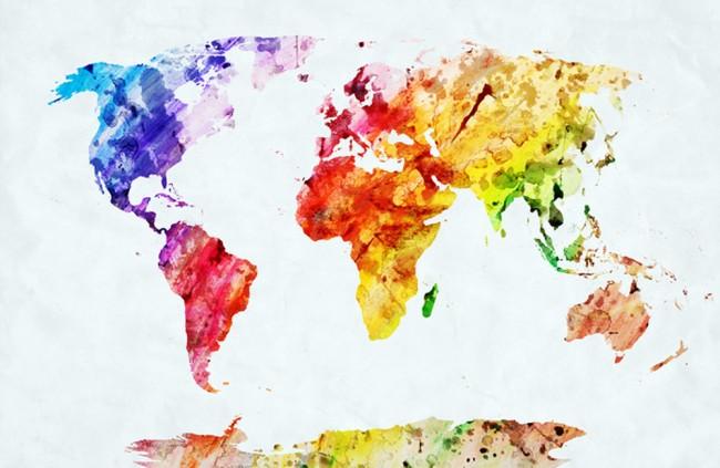 Colourful World Map Wallpaper Wall Mural