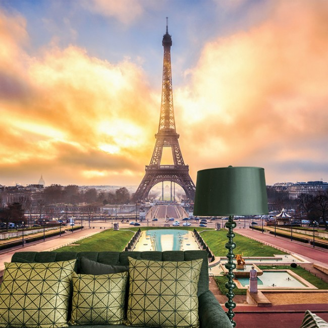 Eiffel Tower Sunrise Wall Mural Landmark Paris Wallpaper Living Room