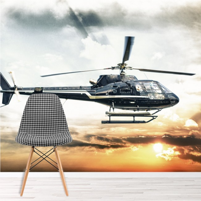 Helicopter Wall Mural Sunset Wallpaper Boys Bedroom Office Photo ...