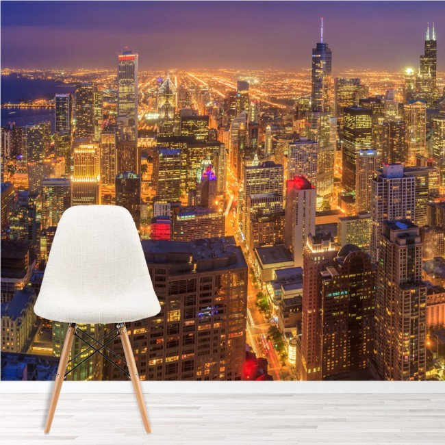 Chicago wall mural skyscraper city skyline wallpaper for Chicago skyline mural wallpaper