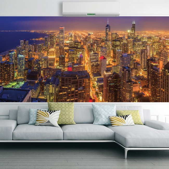Chicago wall mural skyscraper city skyline wallpaper for Chicago wall mural