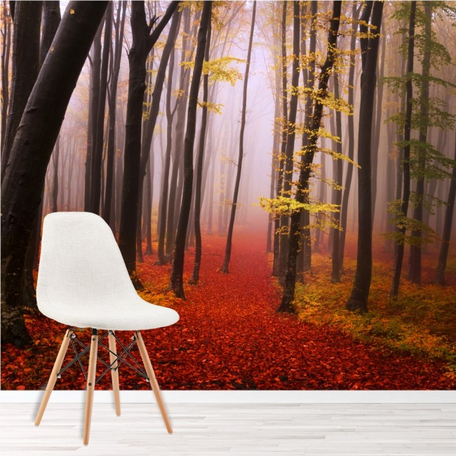 Misty red forest wall mural trees wood wallpaper living for Red wallpaper designs for living room