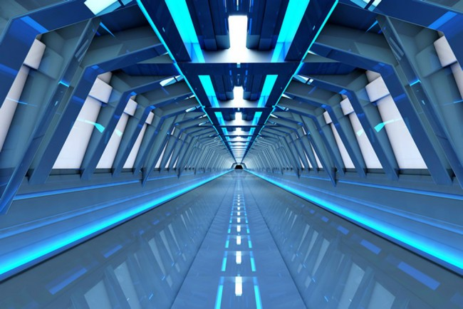Space Station Wall Mural Blue Tunnel 3D Wallpaper Kids Bedroom Photo Home Decor