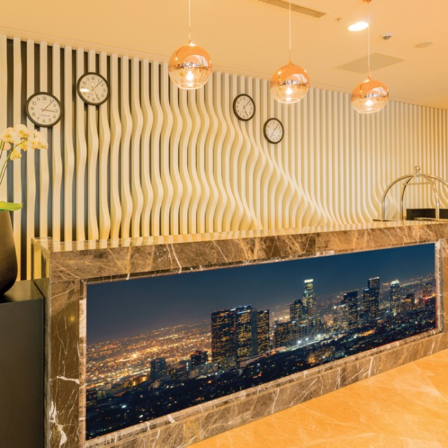 Los angeles panoramic wall mural city skyline wallpaper for Home decor los angeles