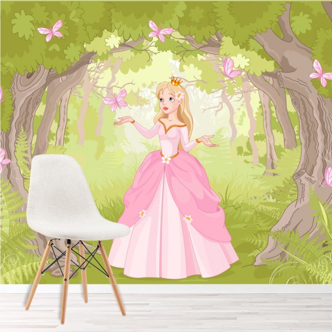 Princess Enchanted Woods Wall Mural Fairytale Wallpaper Girls Photo ...