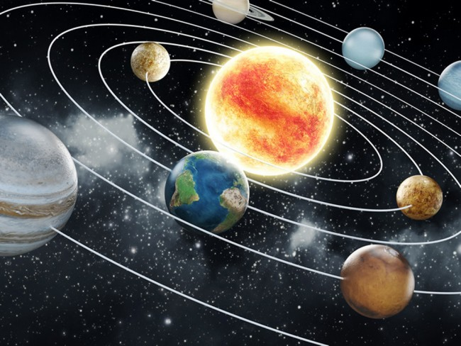 Space Wall Mural Planets Solar System Wallpaper Kids Bedroom Photo