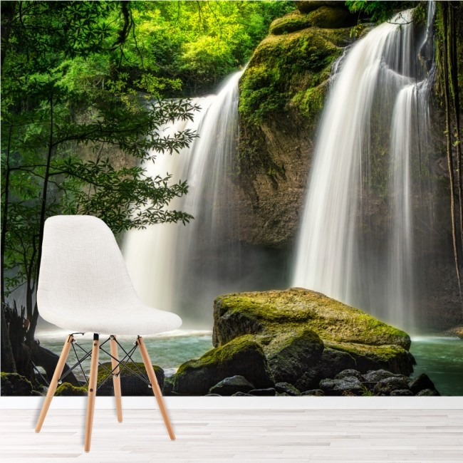 Forest Waterfall Wall Mural Thailand Landscape Wallpaper Nature Photo Home Decor