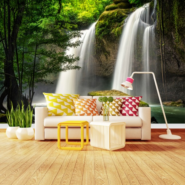 Forest Waterfall Wall Mural Thailand Landscape Wallpaper Nature ...
