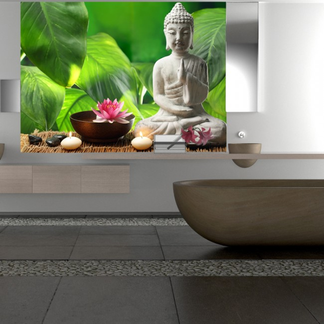 Buddha Statue Wall Mural Green Background Wallpaper Bedroom Photo ...