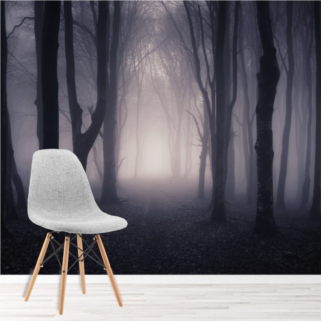 Dark Misty Woods Wall Mural Forest U0026 Trees Wallpaper Bedroom Photo Home  Decor