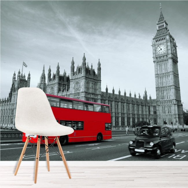 Red bus london wall mural black white wallpaper bedroom photo home decor