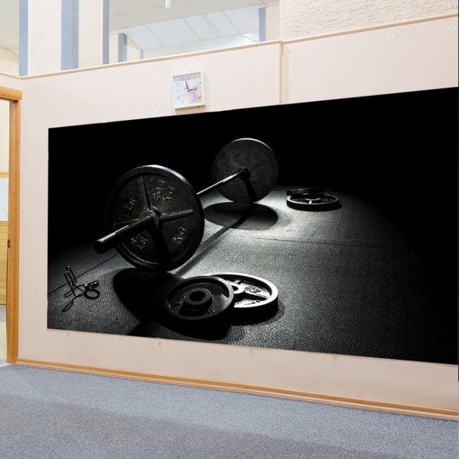 Weights Gym Wall Mural Black White Wallpaper Fitness Photo Home Decor