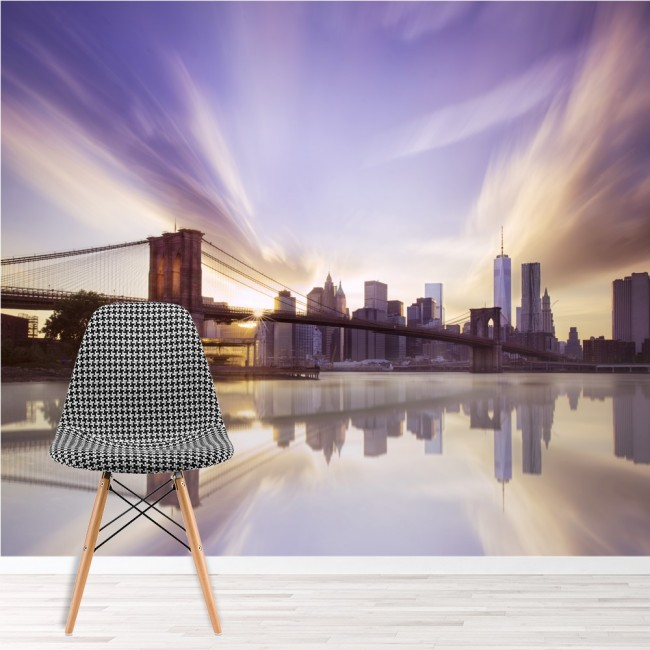 Sunset brooklyn bridge wall mural purple sky wallpaper new for New york city decor